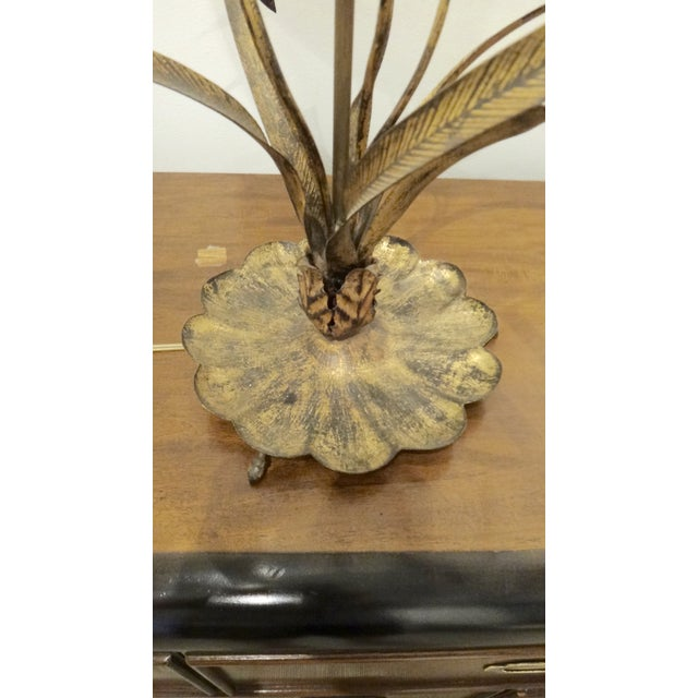 Gilt Cattail Reed Sculptural Table Lamp For Sale - Image 5 of 6