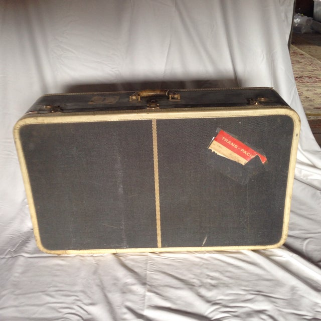 Mid-Century Modern Large Vintage Dark Blue Suitcase For Sale - Image 3 of 9