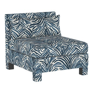 Armless Chair, Washed Zebra Blue For Sale