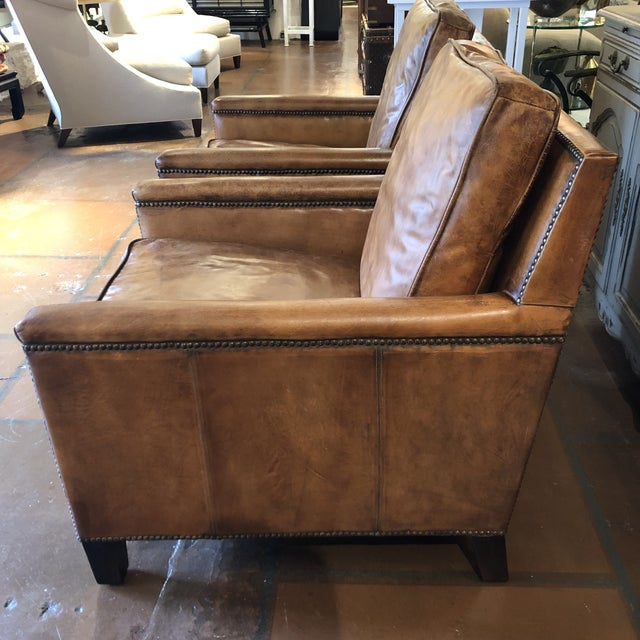 Fantastic French Style Leather Chairs With Nailhead Trim A Pair Squirreltailoven Fun Painted Chair Ideas Images Squirreltailovenorg