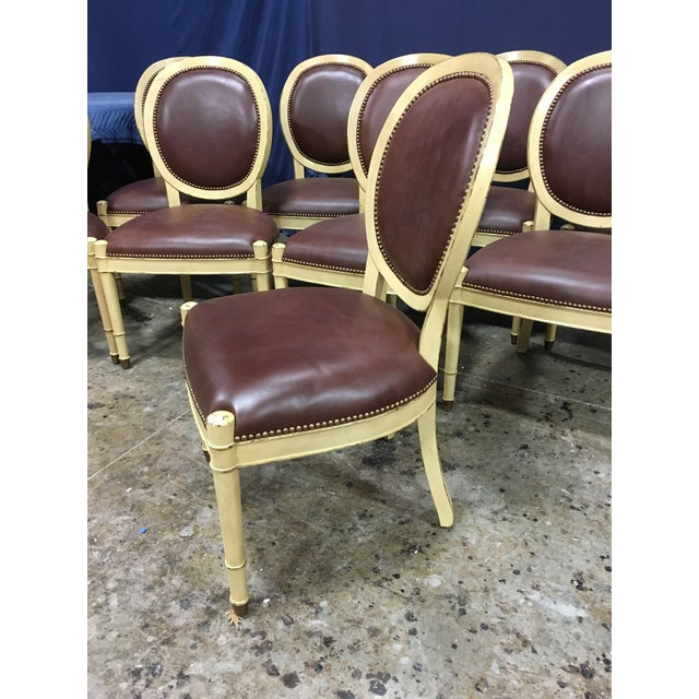 Cream Baker Oval Back Side Chairs - Set of 10 For Sale - Image 8 of 12