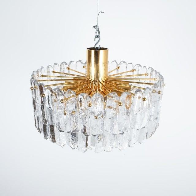 J.T. Kalmar Palazzo Semi Flush Mount Lamp Gold Brass Glass, 1960. Stunning four-tier austrian Kalmar chandelier in...