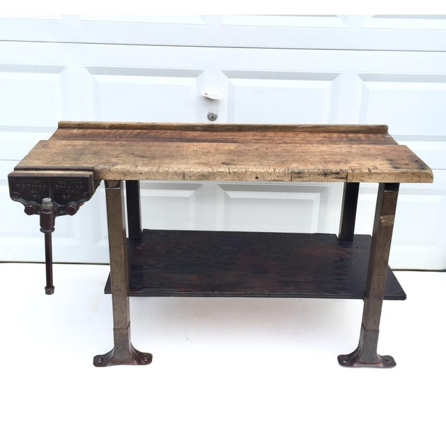 Vintage Industrial Workbench With Table Vise For Sale - Image 10 of 10