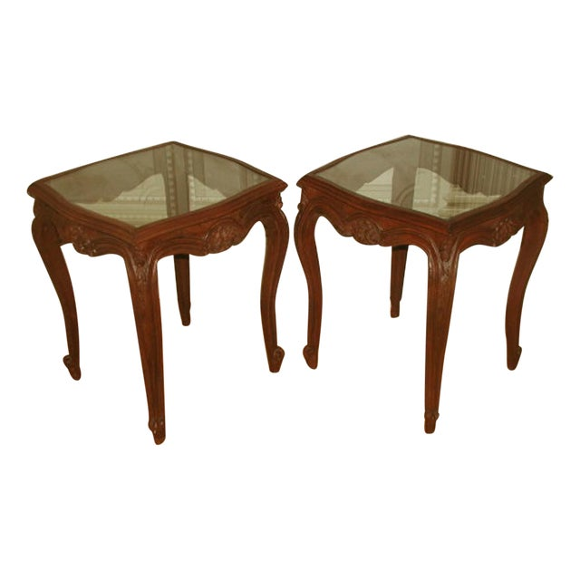 French 19th C. Walnut & Glass Tables - Image 1 of 7