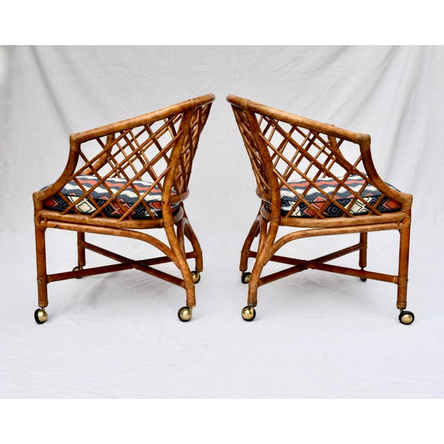 Metal Chinoiserie Chinese Chippendale Rattan Barrel Chairs on Casters For Sale - Image 7 of 13