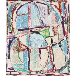 Modernist Abstract in Ink and Pastel, Mid 20th Century For Sale