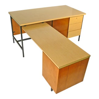 Beautiful Early Florence Knoll Desk and Return for Knoll International For Sale