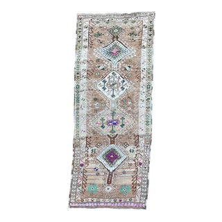 Vintage Turkish Oushak Hand Knotted Wide Runner For Sale