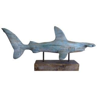 """Davis Murphy Hand Carved """"Hammerhead Shark"""" Sculpture, 2018 For Sale"""