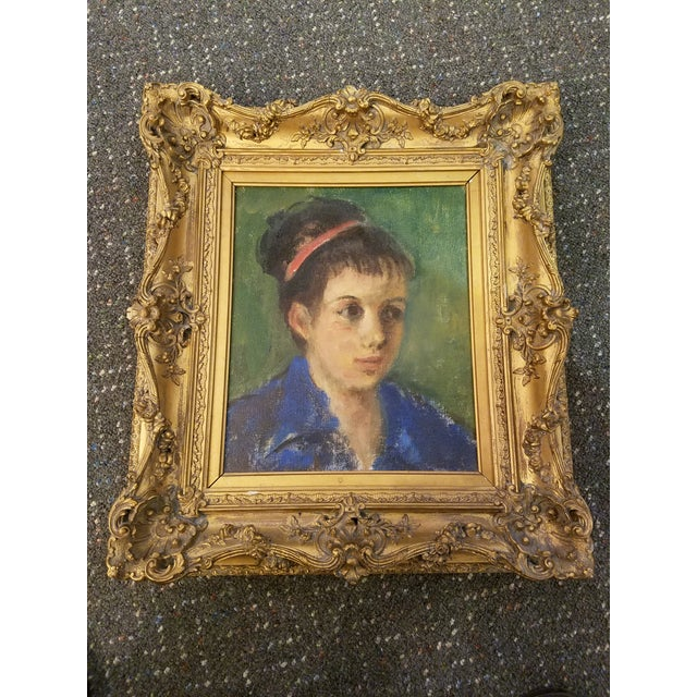 Original Mid-Century Young Lady Portrait Painting in a Carved French Gilt Frame - Image 5 of 5