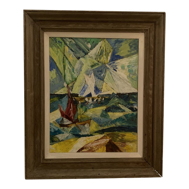 1960s Seascape Painting, Framed For Sale