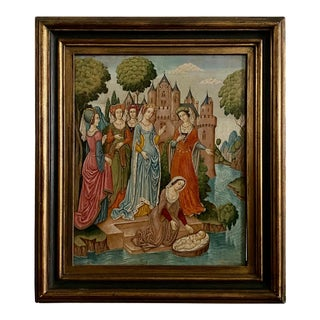 19th Century Medieval Painting of Queen Mary and Baby Jesus For Sale