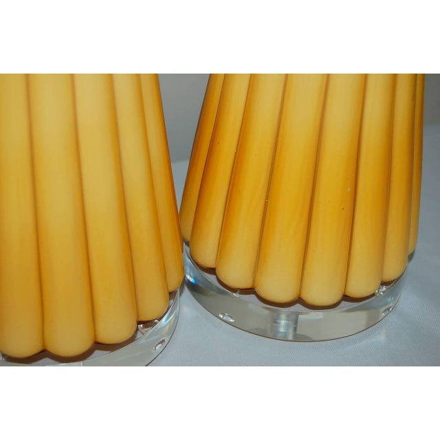 Brass Vintage Murano Glass Pleated Table Lamps in Butterscotch For Sale - Image 7 of 10