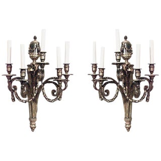 Louis XVI Style 19th-20th Century Bronze Doré Five-Arm Wall Sconces - a Pair For Sale