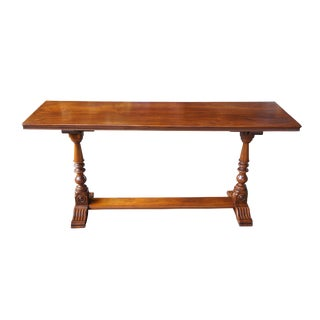 20th Century Jacobean Revival Walnut Carved Trestle Table For Sale