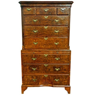 Period George II Burl Walnut Pinwheel or Sunburst Chest on Chest For Sale