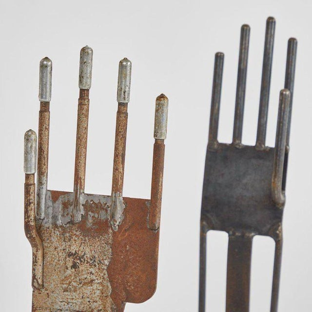 Glove Molds in Black Metal - a Pair For Sale - Image 4 of 5