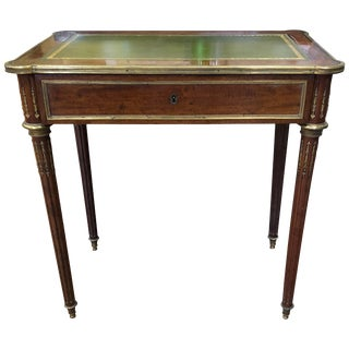 20th Century Louis XVI Style Brass Inlaid Mahogany Desk For Sale
