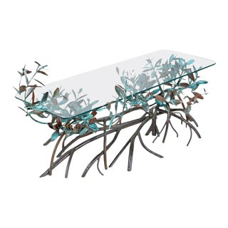 Copper Sculpted Botanical Silas Seandel Style Tree Coffee Table