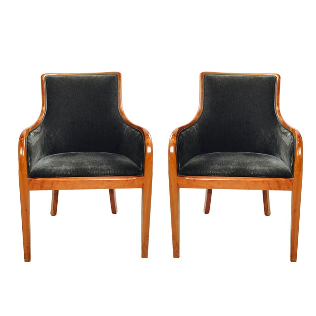 Transitional Mohair & Cherry Wood Zographas Chairs - A Pair - Image 1 of 8