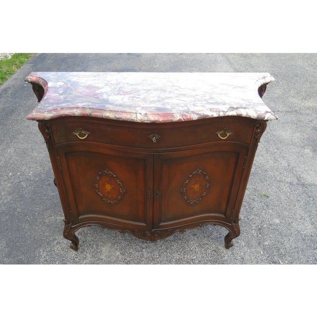 Brown French Early 1900s Marble Top Commode Server Buffet Bathroom Vanity For Sale - Image 8 of 13