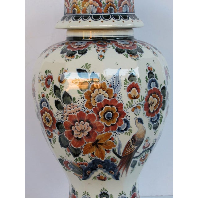 Terra Cotta Pair of Delft Hand-Painted Covered Jars Signed by the Artist P. Verhoeve For Sale - Image 8 of 10