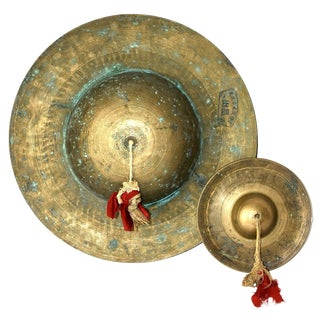 Vintage Chinese Brass Cymbals - Set of 2