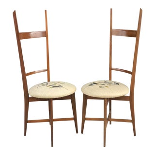 1960's Italian Modern Ladder Back Accent Chairs, a Pair For Sale