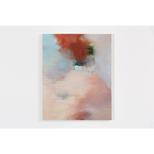"""""""Without Words"""" is a mixed media painting on wood panel by artist Sara Pittman. Ethereal clouds of mauve, blue, and red..."""
