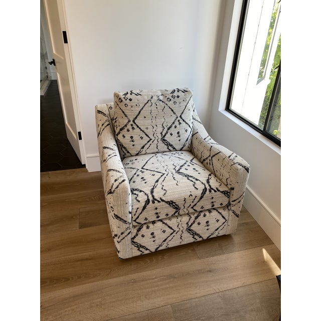 Black and White Upholstered Swivel Lounge Chair For Sale In Los Angeles - Image 6 of 6