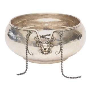 Italian Hand Forged Hallmarked Sterling Silver Corset Bowl For Sale