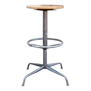 Vintage Raw Steel Adjustable Stool With Oak Seat For Sale