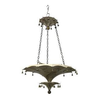 2-Tier Chinoiserie Style Painted Umbrella Chandelier