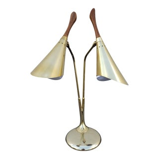 Laurel Brass Cone Table or Desk Lamp For Sale
