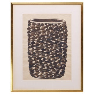 Monumental Axel Salto Large Budding Vase Watercolor on Paper Vintage, Midcentury For Sale