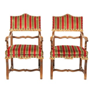 Pair of Antique Louis XIV Arm Chairs Featuring Silk Velvet Striped Upholstery For Sale