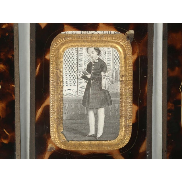 Antique French Faux Tortoiseshell Glass Picture Frames - Set of 6 For Sale In Chicago - Image 6 of 11