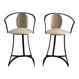 Pair of Mid Century Modern Style Swivel Bar Stools For Sale