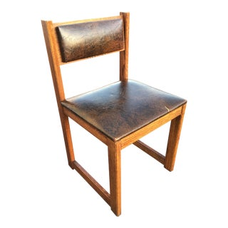 Antique Style Oak School Chair With Sled Base For Sale