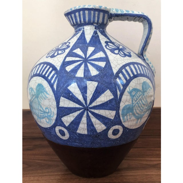 19th Century Glazed Pitcher in Blues and White - Image 2 of 7
