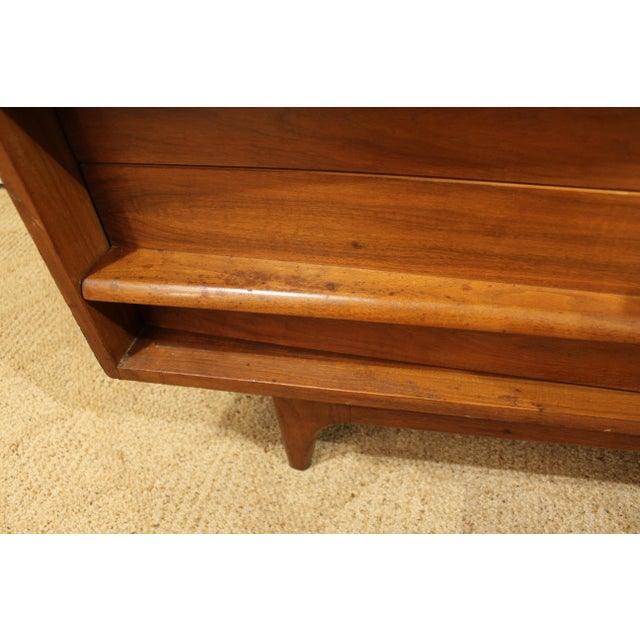 Mid-Century Danish Modern Elongated Concave-Front Walnut Credenza #137 - Image 8 of 12