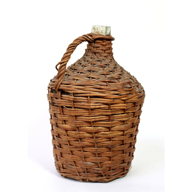 Early 20th Century Antique Wicker Covered Glass Wine Jug With Handle For Sale - Image 5 of 5