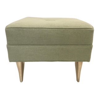 Currey & Co. Modern Green Upholstered Diva Ottoman For Sale