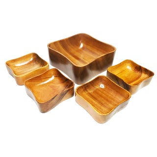 Vintage Mid-Century Modern Handcrafted Solid Wood Bowls - Set of 5 For Sale
