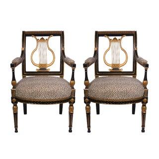 19th Century Italian Neoclassical Ebonized and Parcel-Gilt Armchairs