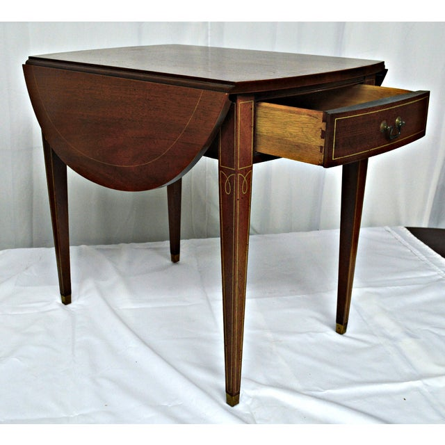 Hickory Chair Co. Oval Wood Side Table with Wings For Sale In Miami - Image 6 of 11