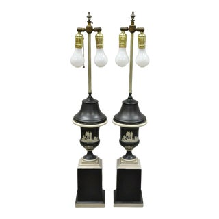 Antique Black and White Wedgwood Jasperware Urn Table Lamps - a Pair For Sale