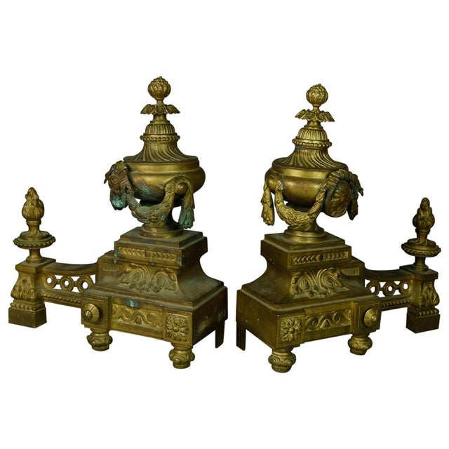 Brass Antique French Empire Figural Bronze Urn and Flame Form Fireplace Andirons- A Pair For Sale - Image 8 of 8