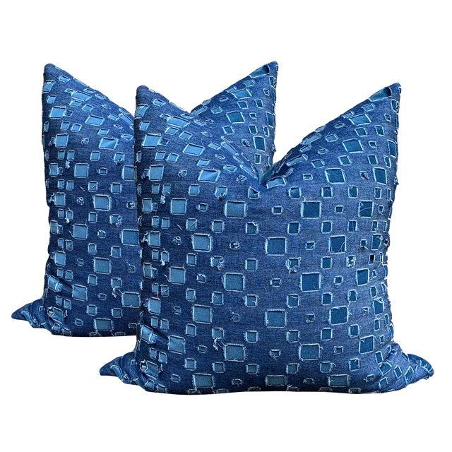 Boho Chic Grunge Denim and Blue Velvet Pillows - a Pair For Sale