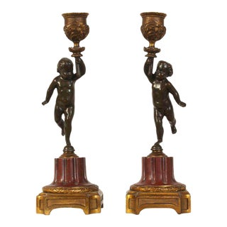 French Late 19th Century Cherub Candlesticks - A Pair